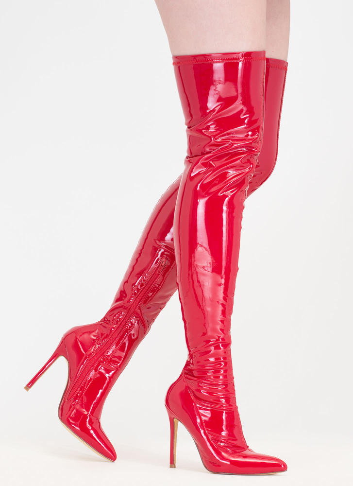 Long Story Chic Faux Patent Boots RED