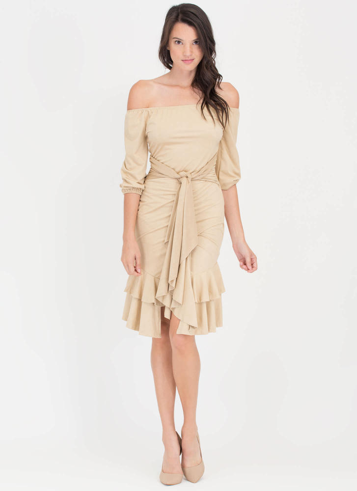 Swoon Or Later Faux Suede Ruffled Dress