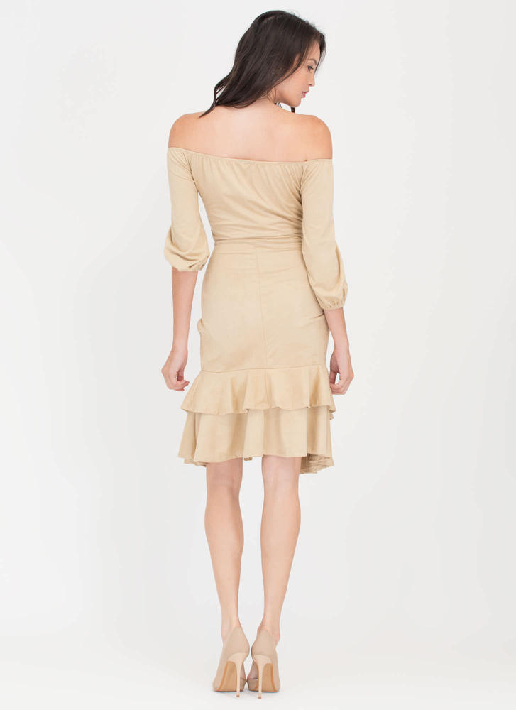 Swoon Or Later Faux Suede Ruffled Dress CAMEL (Final Sale)