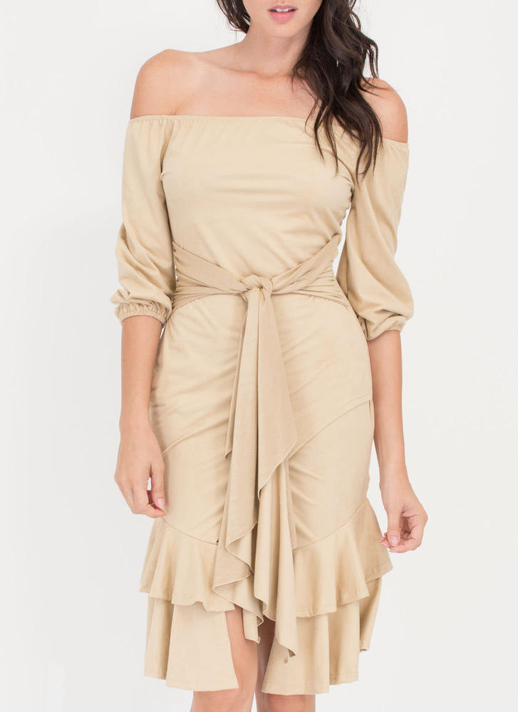 Swoon Or Later Faux Suede Ruffled Dress CAMEL