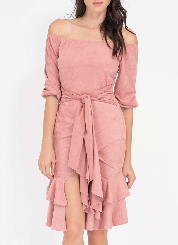 Swoon Or Later Faux Suede Ruffled Dress MAUVE