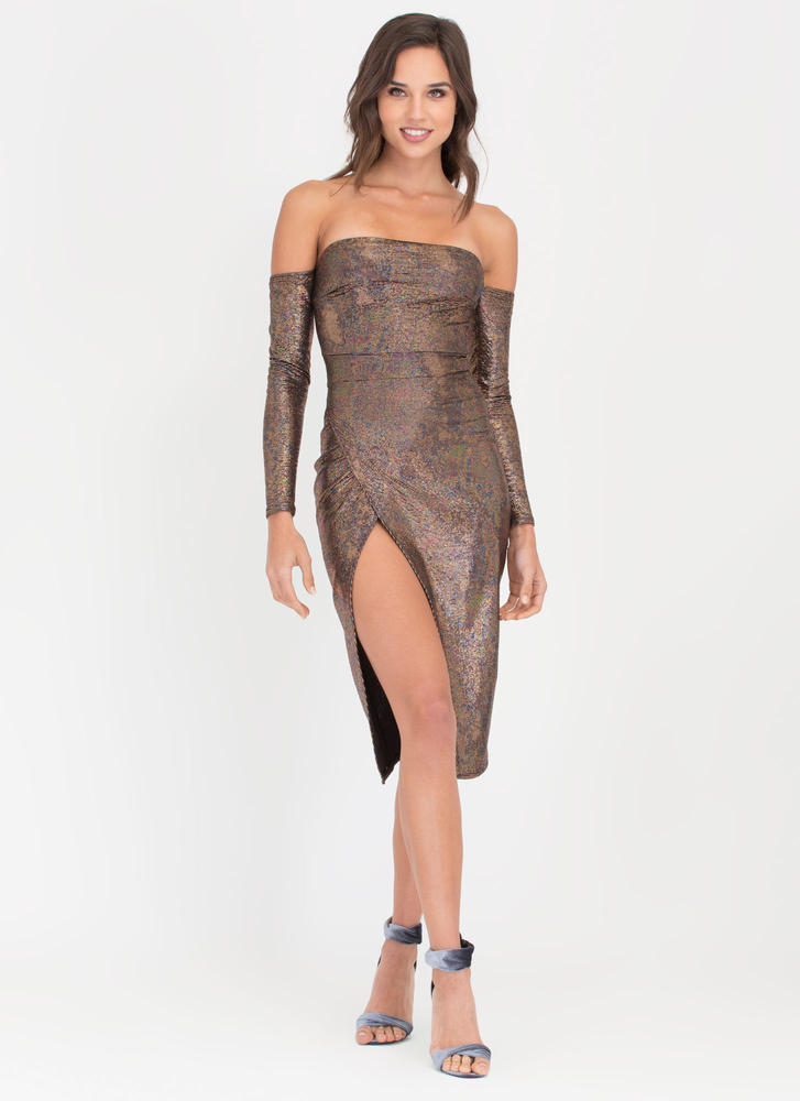 Gleam Team Off-Shoulder Metallic Dress BLACKPINK