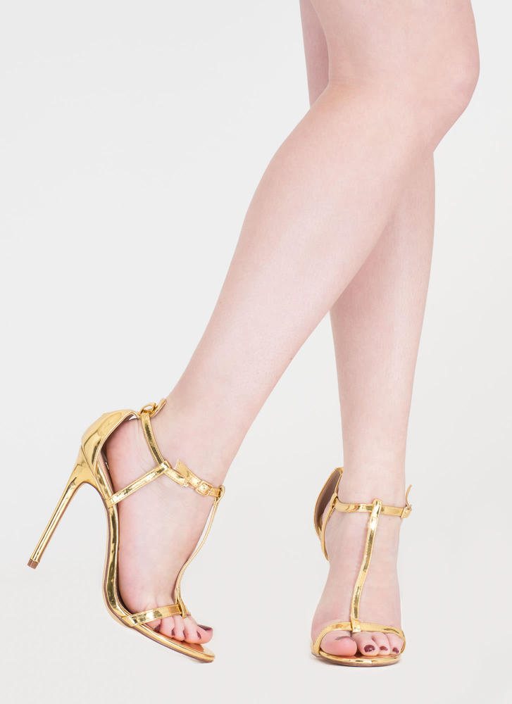 To A T-Strap Metallic Faux Patent Heels GOLD