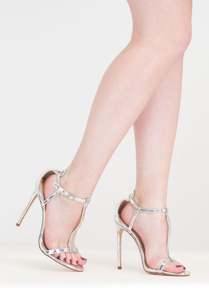 To A T-Strap Metallic Faux Patent Heels