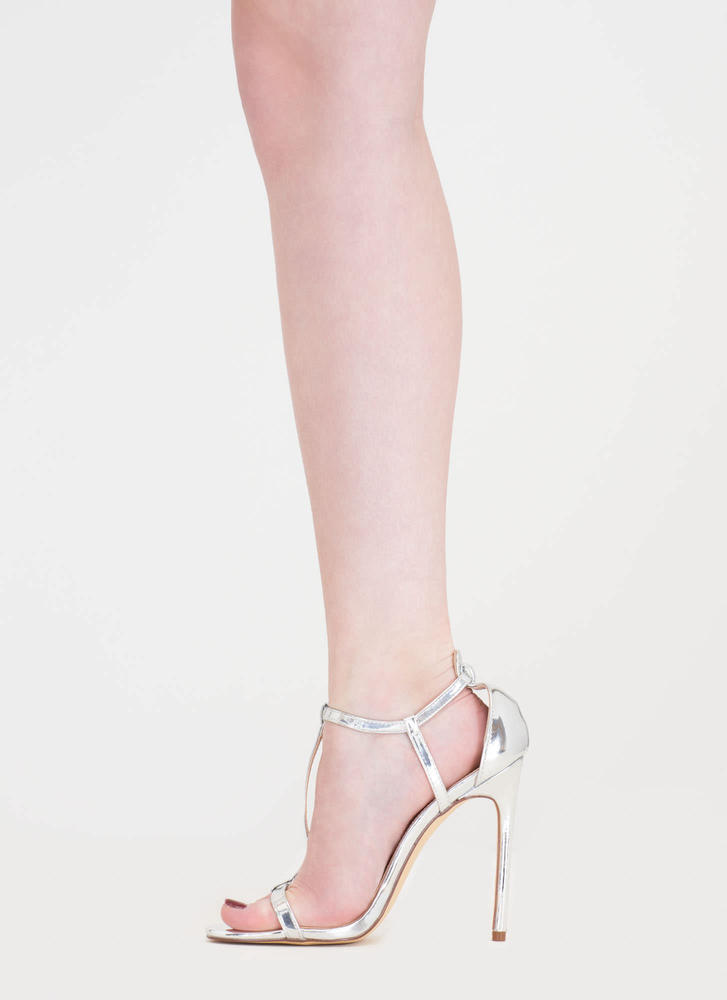 To A T-Strap Metallic Faux Patent Heels SILVER