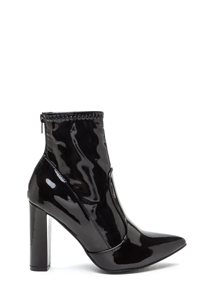 Bad Gal Pointy Faux Patent Booties