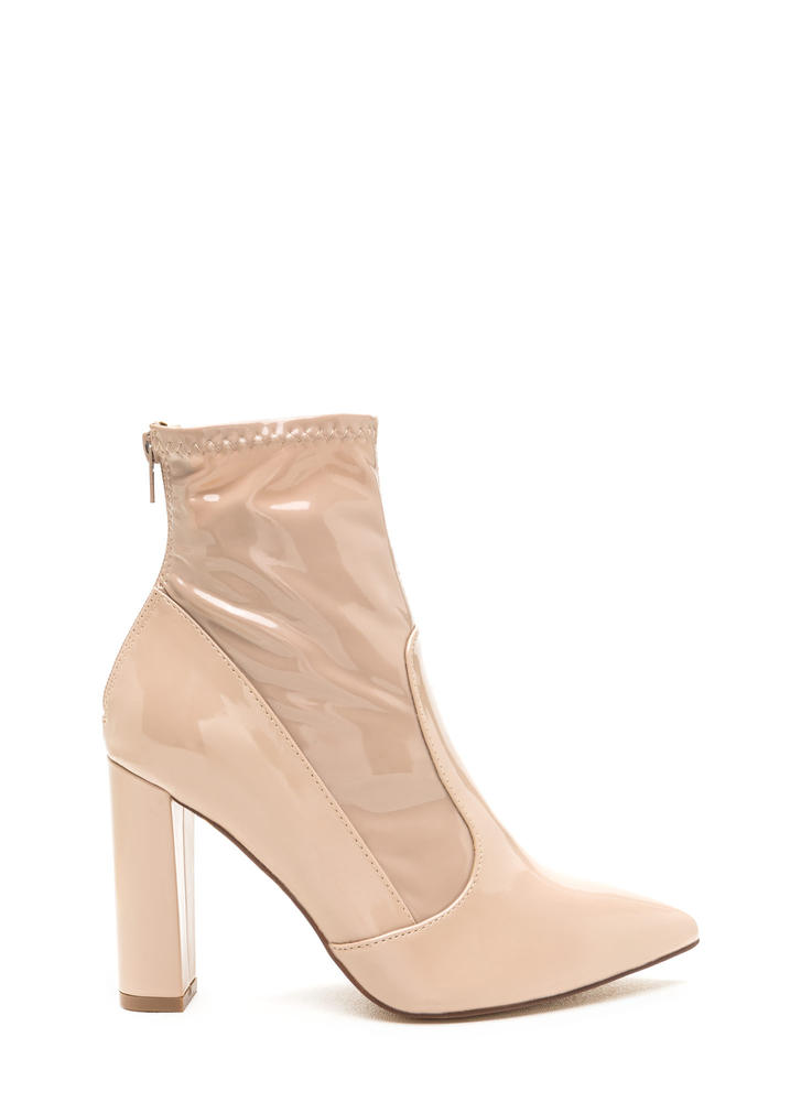 Bad Gal Pointy Faux Patent Booties NUDE (Final Sale)
