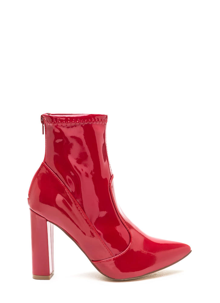 Bad Gal Pointy Faux Patent Booties RED (Final Sale)
