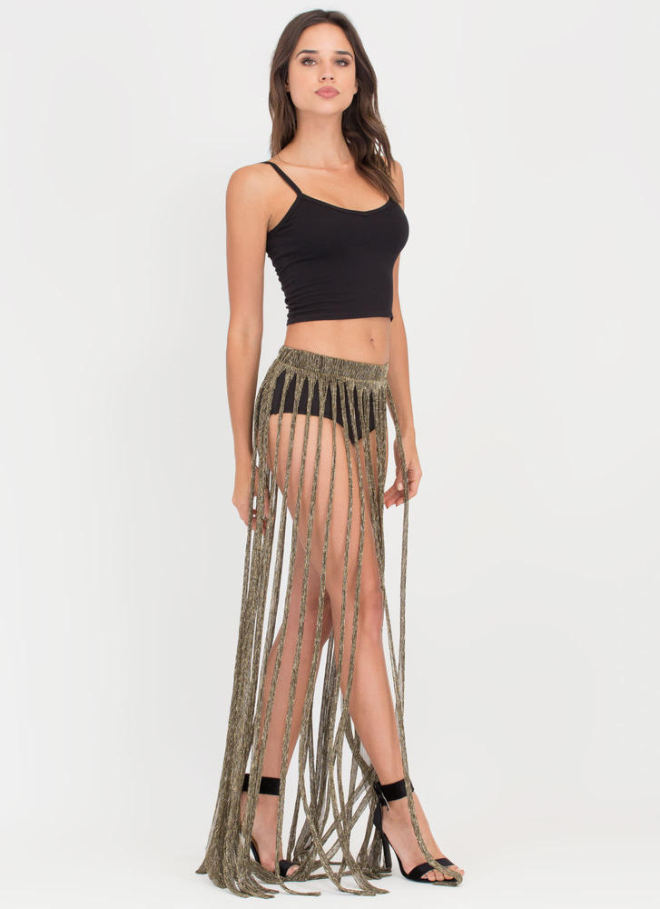 Swept Up Metallic Fringe Maxi Skirt GOLD