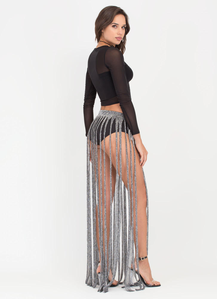 Swept Up Metallic Fringe Maxi Skirt SILVER