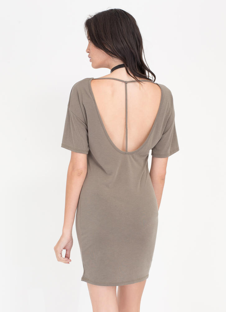 Fits Me To A T-Back Shirt Dress OLIVE (Final Sale)