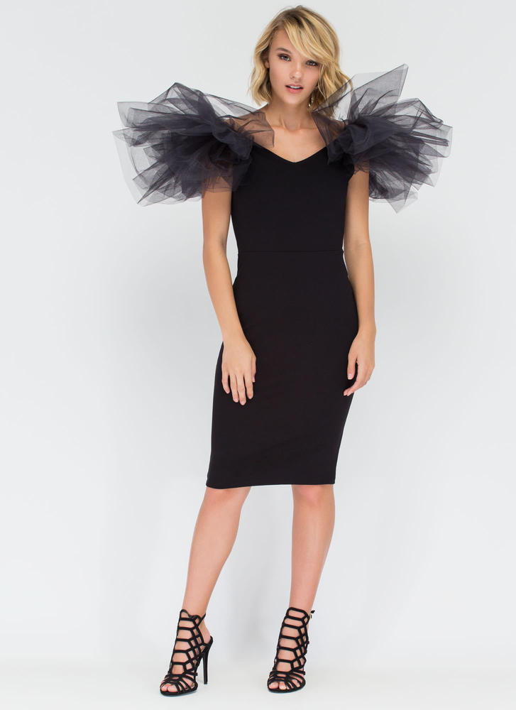 Puff Piece Tulle Bodycon Midi Dress BLACK