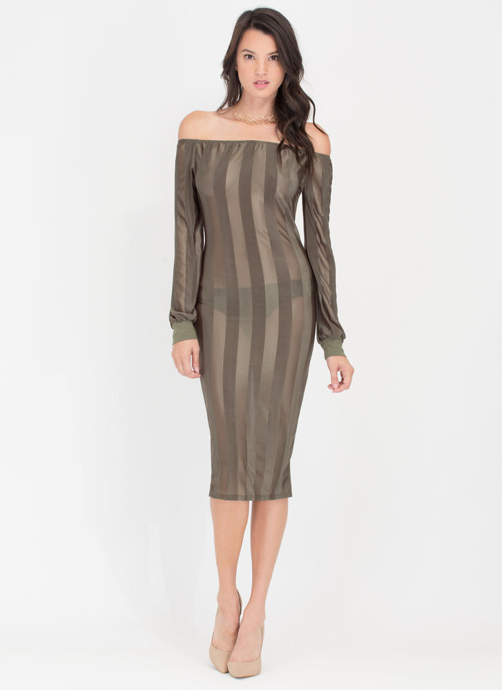 Long Line Off-Shoulder Mesh Stripe Dress
