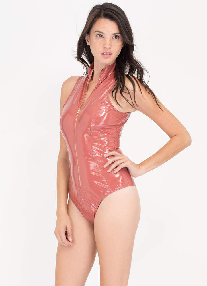 Dive Right In Coated Zip-Up Bodysuit MAUVE