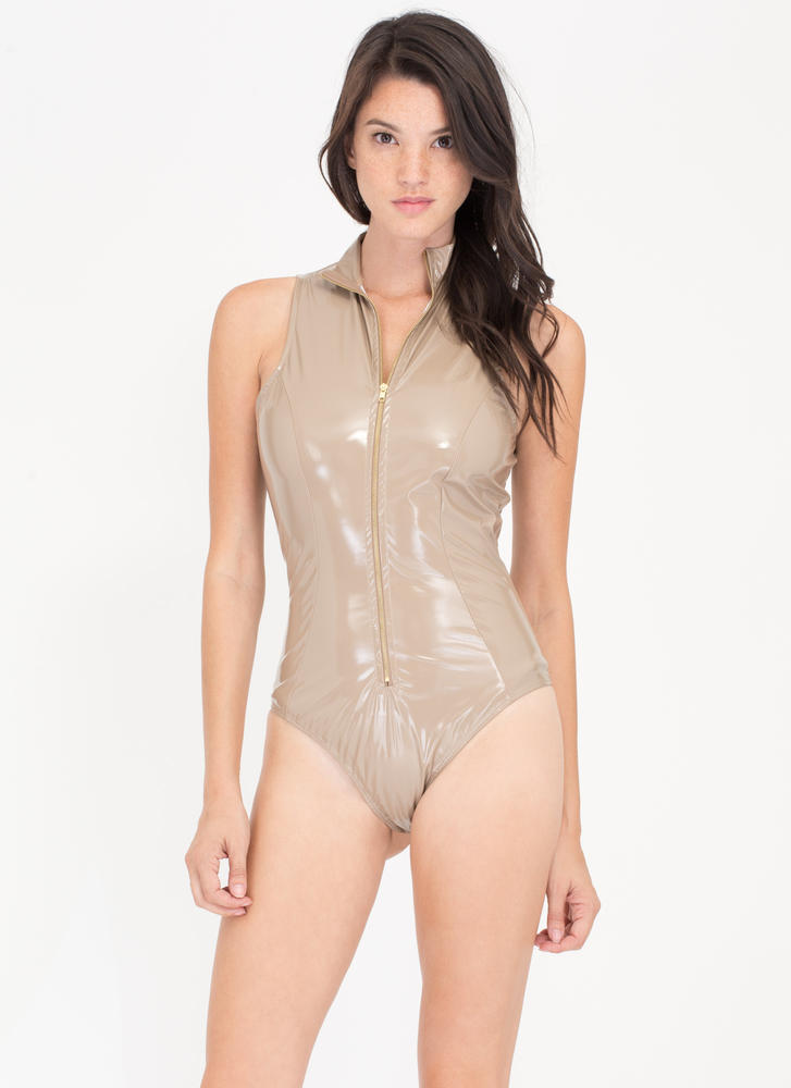 Dive Right In Coated Zip-Up Bodysuit NUDE
