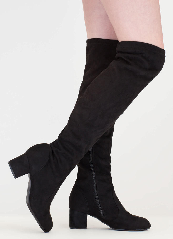 Skyline Thigh-High Faux Suede Boots LTTAUPE BLACK - GoJane.com
