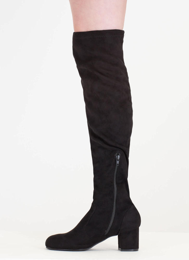 Skyline' Faux Suede Chunky Knee-High Boots - Black, Lt. Taupe