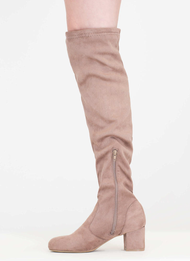 Skyline Thigh-High Faux Suede Boots LTTAUPE