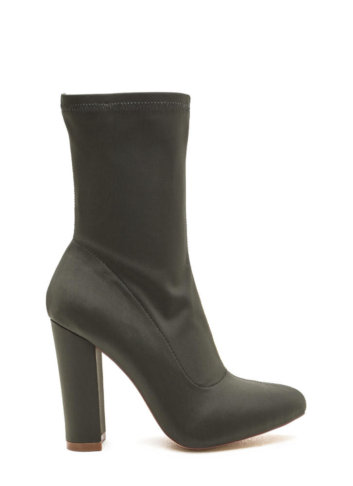 Smooth Talker Pointy Chunky Booties OLIVE