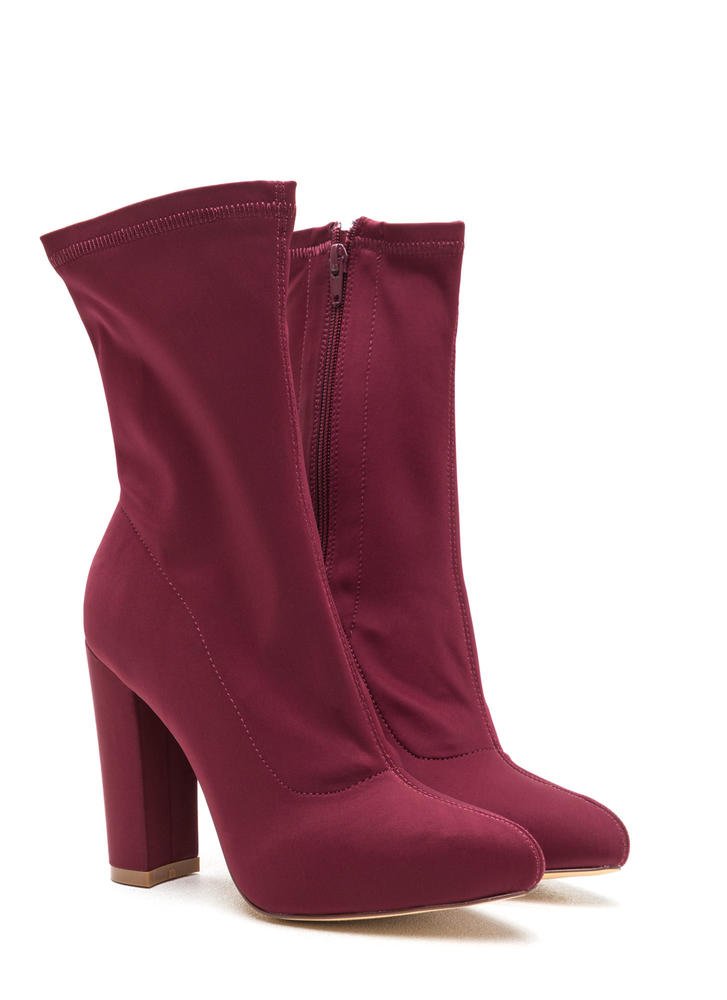 Smooth Talker Pointy Chunky Booties WINE