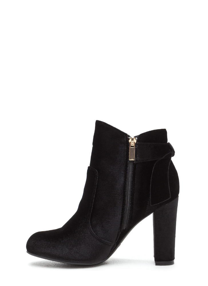 Bow Ahead Chunky Velvet Booties BLACK
