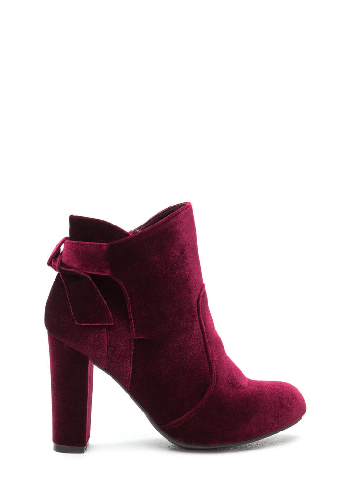 Bow Ahead Chunky Velvet Booties