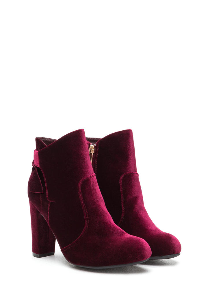 Bow Ahead Chunky Velvet Booties BURGUNDY