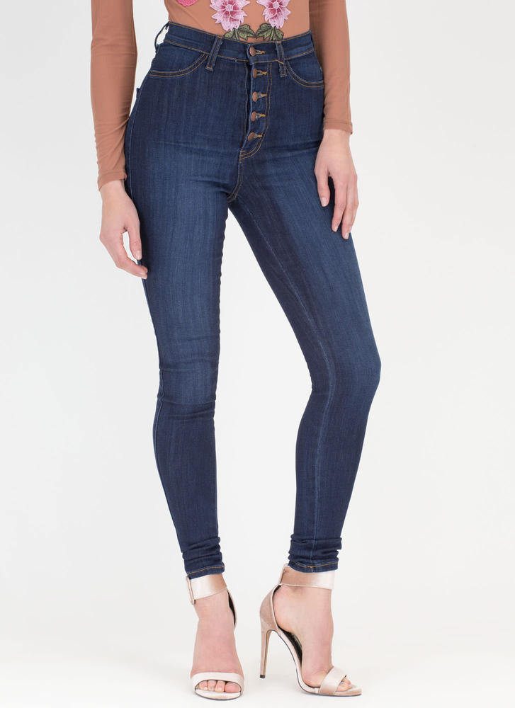 So Fly Button-Up High-Waist Skinny Jeans DKBLUE (Final Sale)
