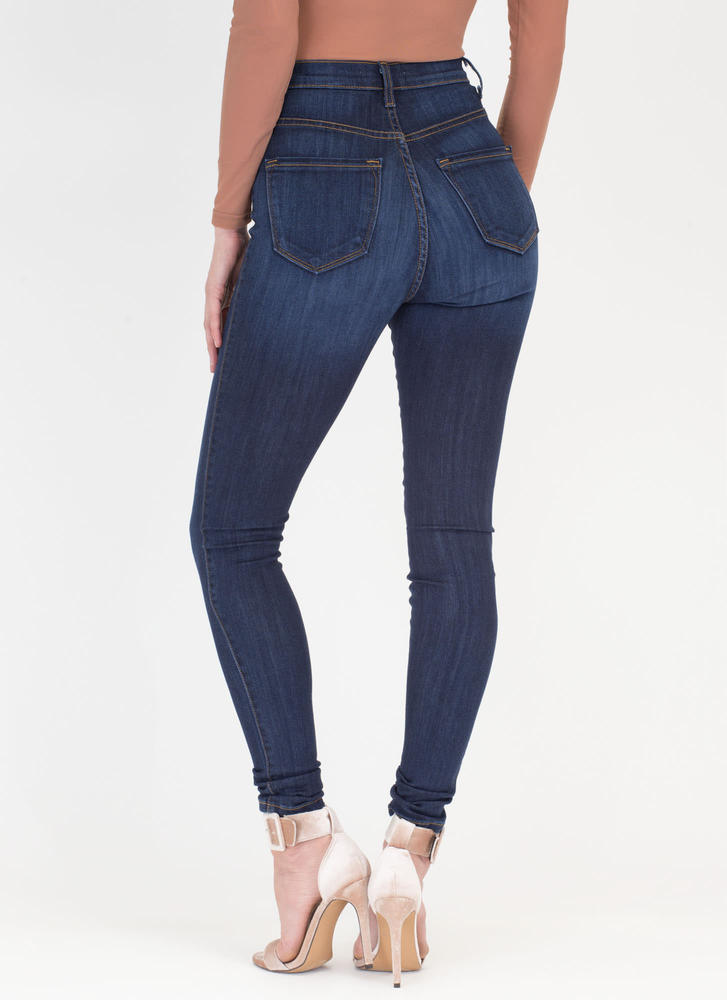 So Fly Button-Up High-Waist Skinny Jeans DKBLUE