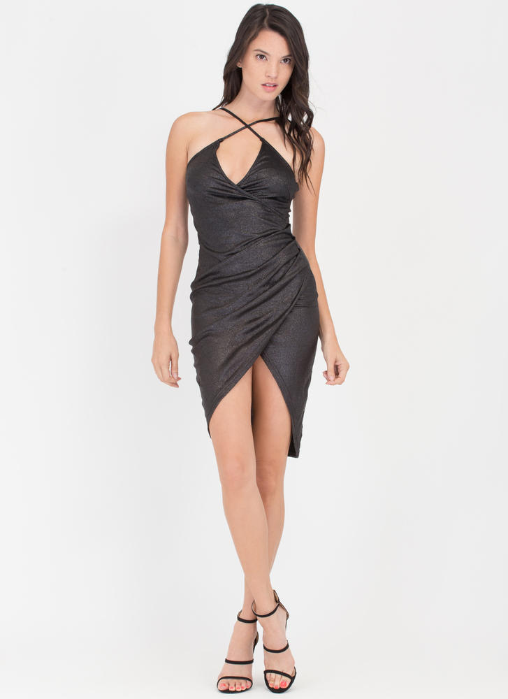 Glitz The Night Away Ruched Wrap Dress