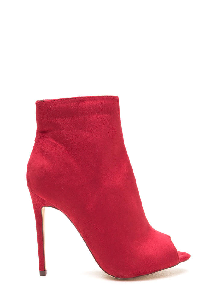 Peep Show Faux Suede Stiletto Booties RED