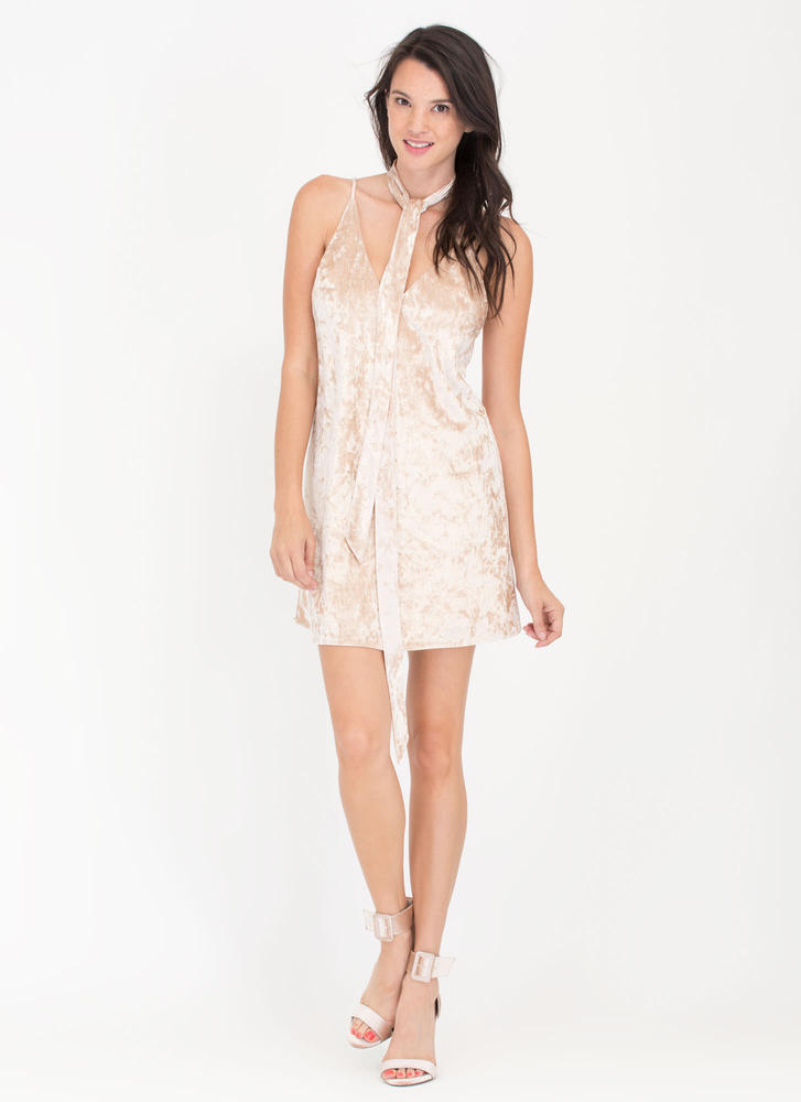 Party Hopper Crushed Velvet Dress PEARL (Final Sale)