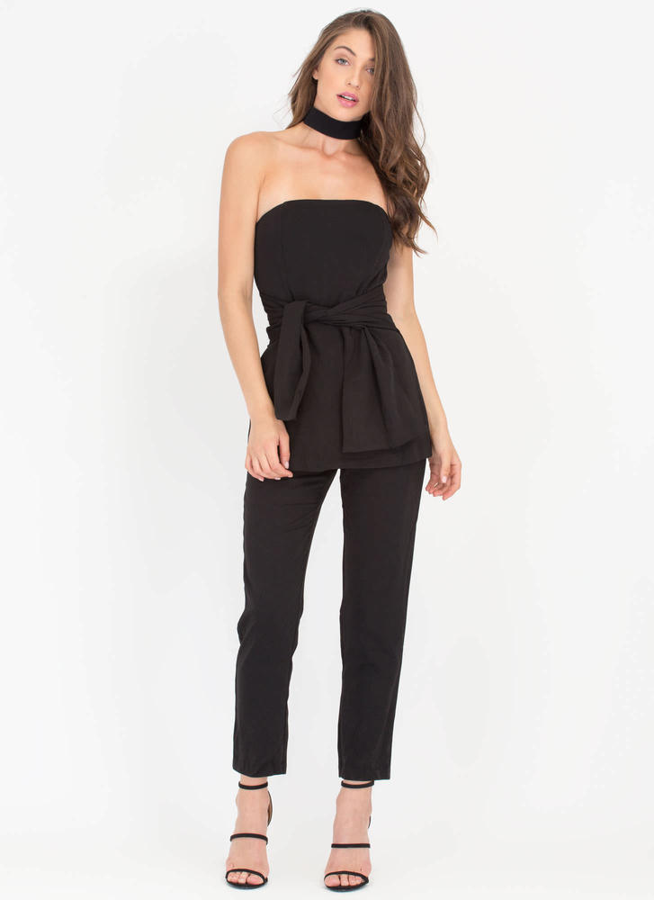 Tie The Knot Strapless Peplum Jumpsuit