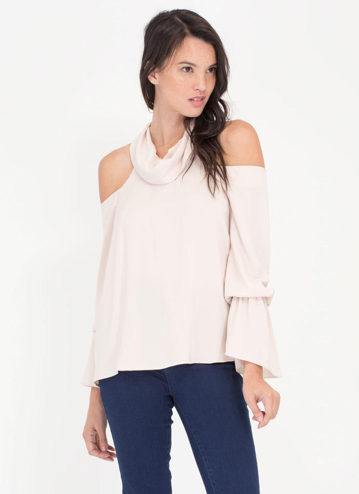 Ring My Bell Cold Shoulder Cowl Neck Top