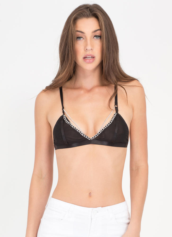 Chained Melody Trimmed Mesh Bralette BLACK
