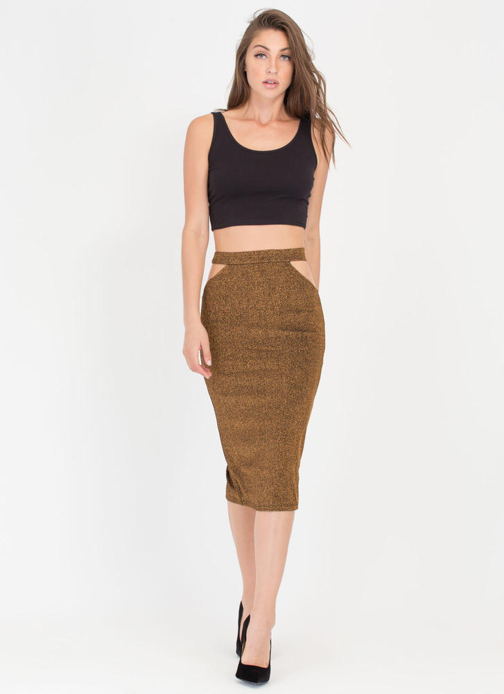 Hip To It Glittery Cut-Out Skirt GOLD (Final Sale)