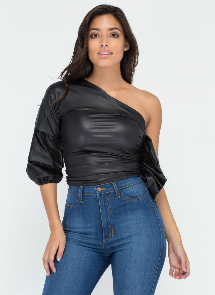 Single Serving Ruched Coated Top BLACK