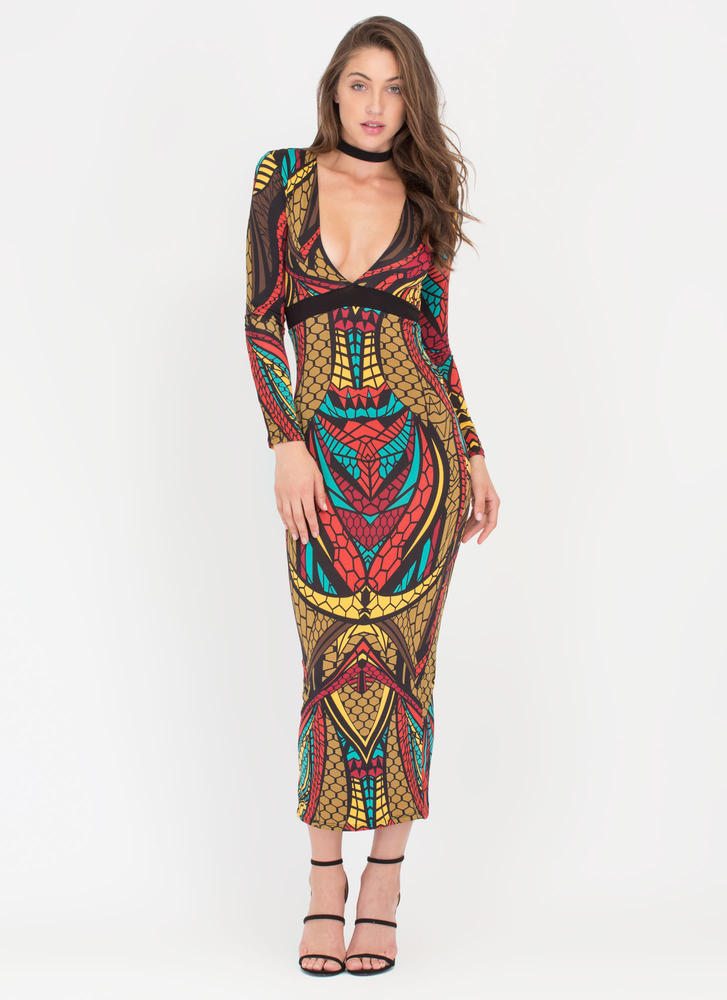 Balanced Scales Plunging Maxi Dress OLIVE