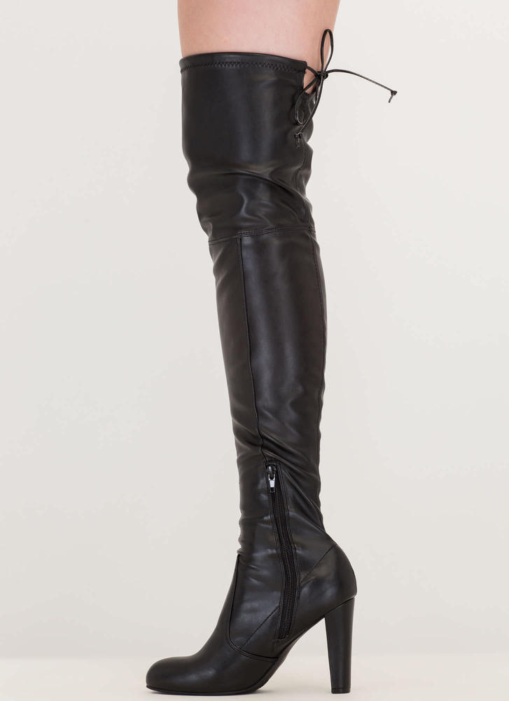 Key To Success Chunky Thigh-High Boots BLACK
