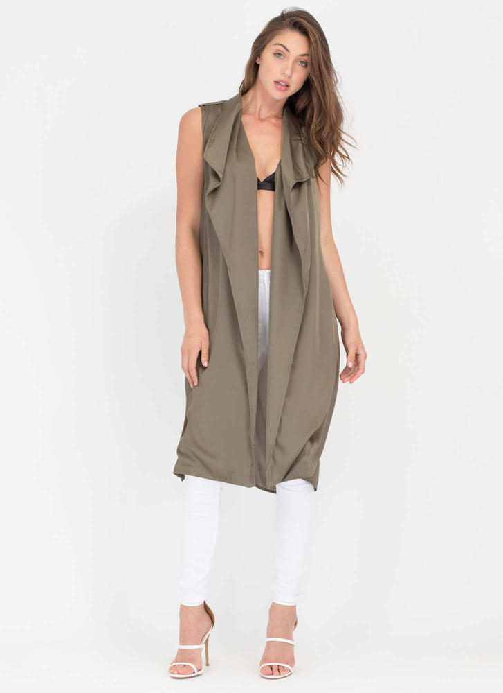 Smooth As Silk Longline Flyaway Vest OLIVE