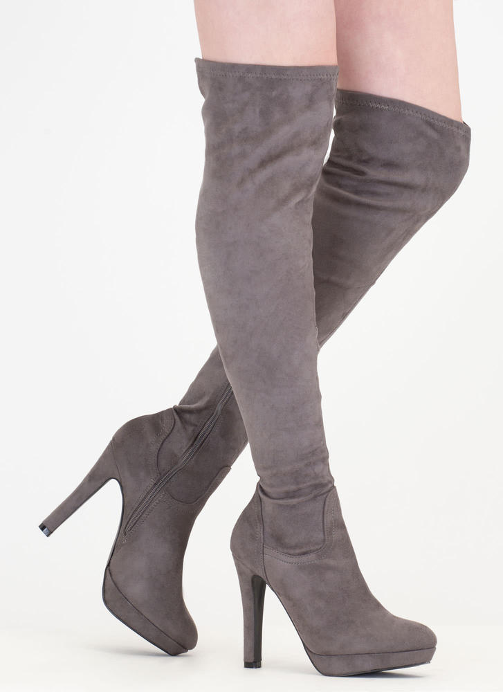 Haute Spot' Faux Suede Thigh-High Platform Boots - Grey, Black, Plum