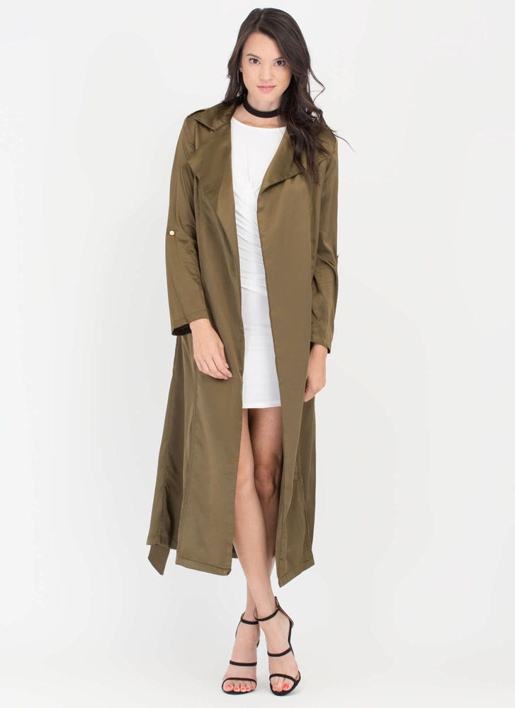 Classic Babe Satin Trench Coat