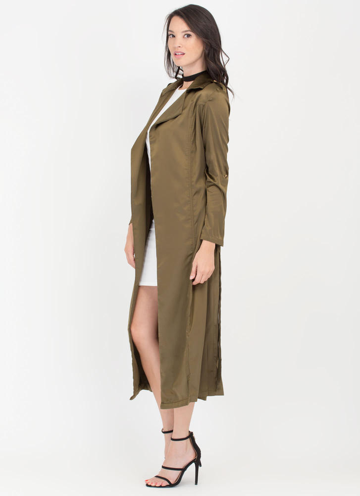Classic Babe Satin Trench Coat OLIVE