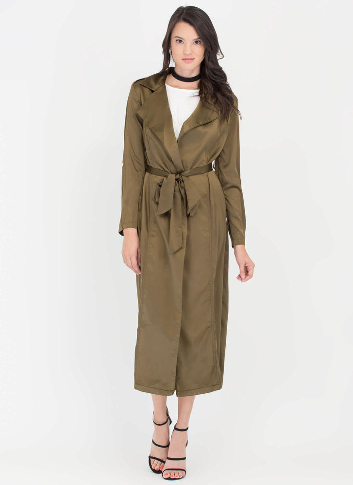 Classic Babe Satin Trench Coat OLIVE (Final Sale)