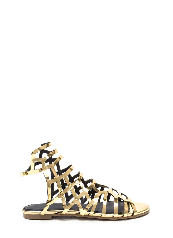 Cut Out For This Shiny Gladiator Sandals GOLD