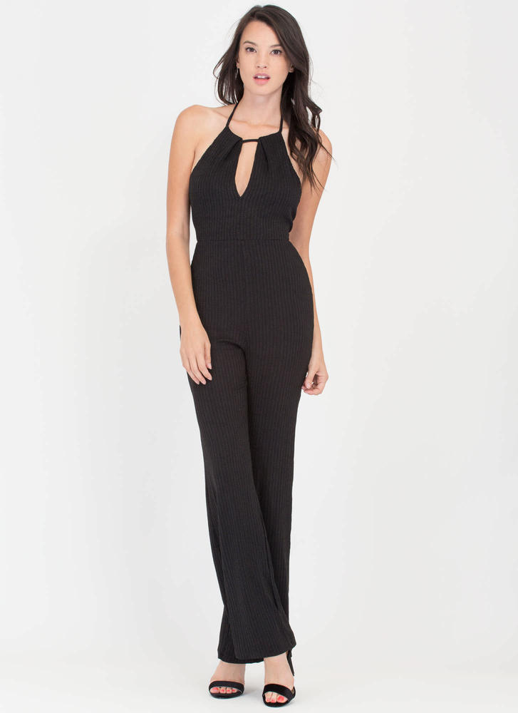 Socialite Up My Life Rib Knit Jumpsuit BLACK