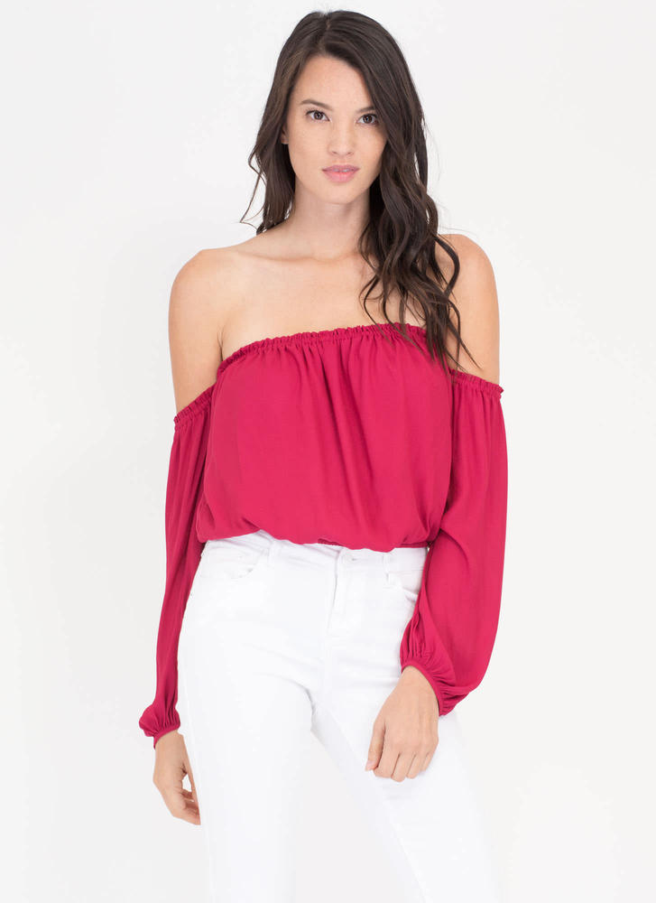 Puff Up Off-Shoulder Peasant Blouse