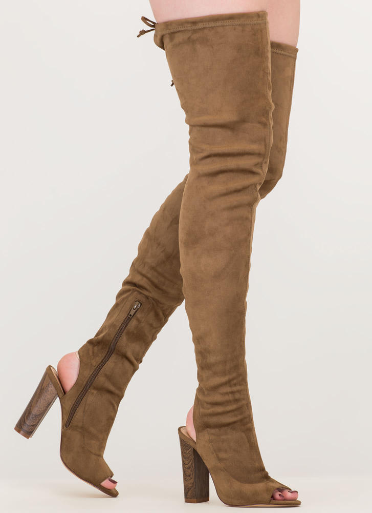 Classy 'N Sassy Chunky Thigh-High Boots OLIVE