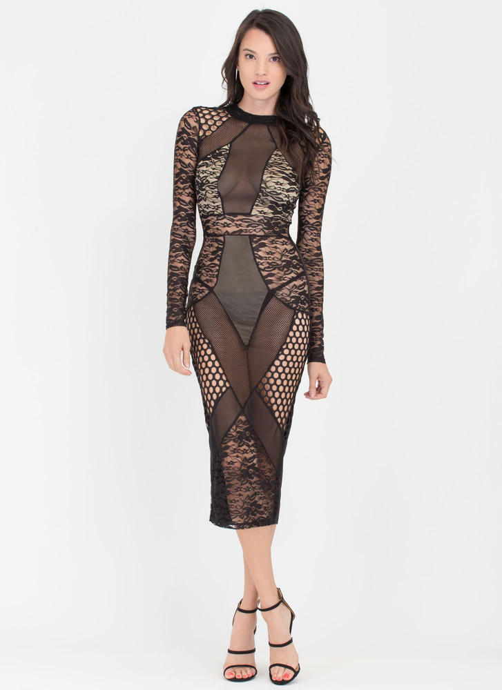 Sheer Perfection Lace 'N Mesh Midi Dress