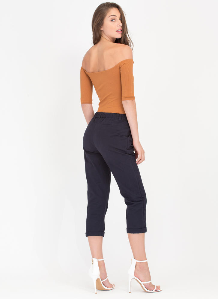 Lucky Day Wide Cropped Chino Pants NAVY (Final Sale)
